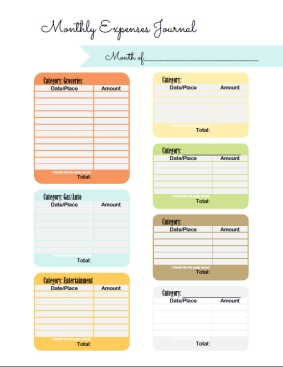 Free printable Contemporary Monthly Expense Journal