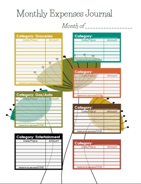 Free printable - monthly expenses journal, modern theme