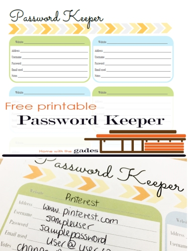 Contemporary theme - Password Keeper, free printable