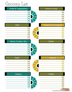 Modern theme, Grocery Shopping List, free printable