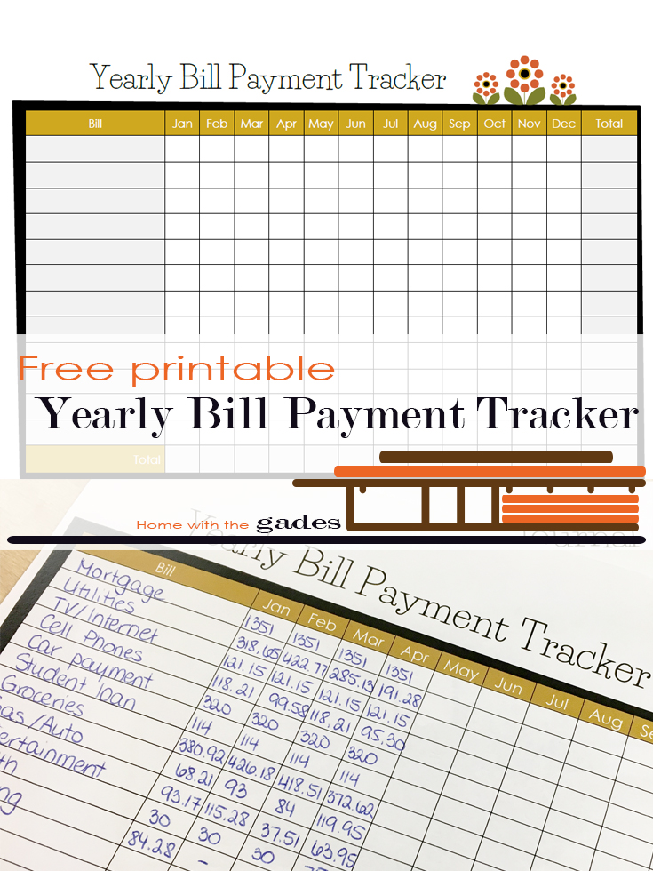 m yearly bill payment tracker home with the gades